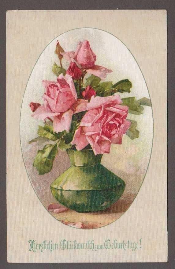 Herzlichen Glückwunsch zum Geburtstage - róże w zielonym wazonie