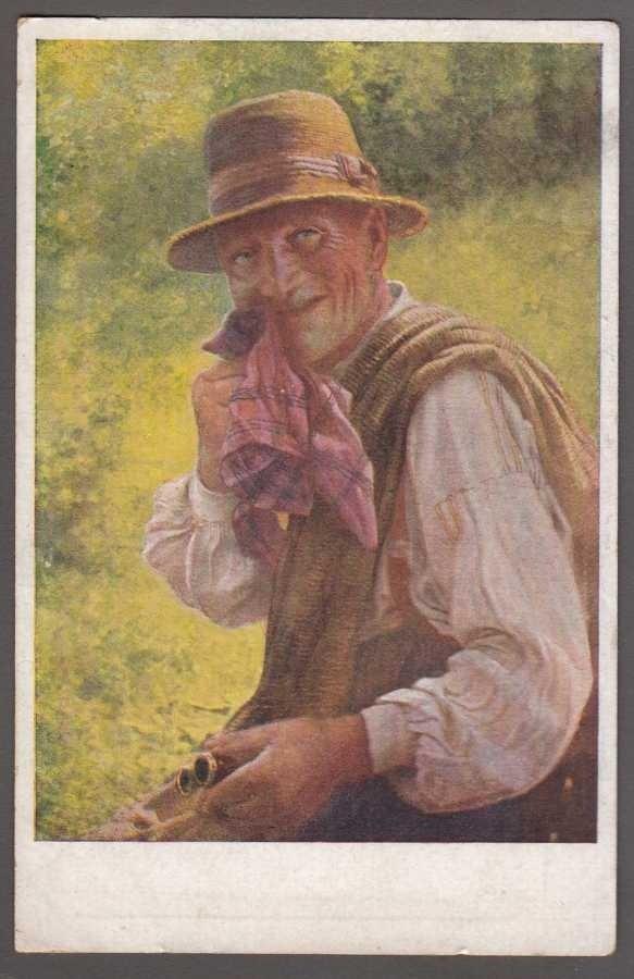 Dyskretny uśmiech Bashful L'honteux JOBST  Art Postcard