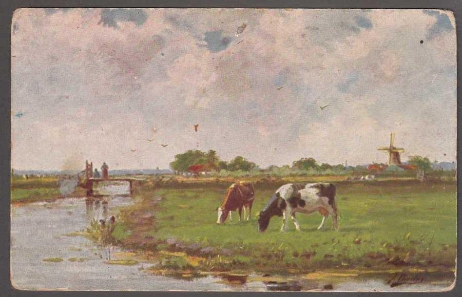 Krajobraz wiejski z dwoma krowami i wiatrakiem  Art Postcard
