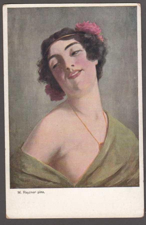 Mieczysław Reyzner portret kobiety KRAKUS 75 Art Postcard