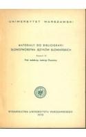Materiały do bibliografii słowotwórstwa języków słowiańskich